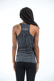 Womens Celtic Tree Tank Top in Silver on Black