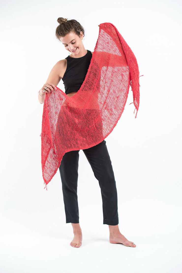 Thai Hand Woven Cotton Shawl Scarf in Red