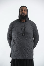 Plus Size Unisex Solid Color Hoodie in Black