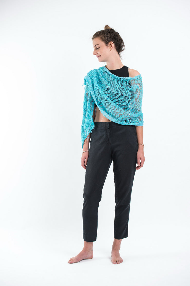 Thai Hand Woven Cotton Shawl Scarf in Turquoise
