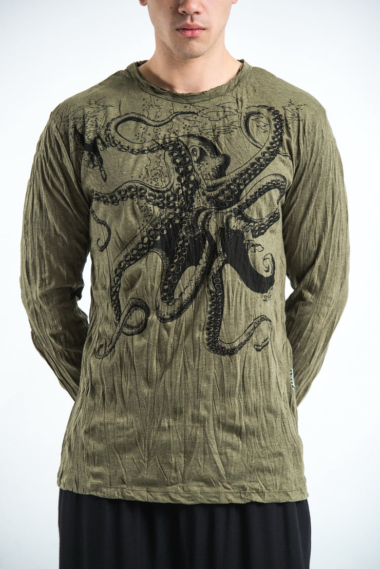 Unisex Octopus Long Sleeve T-Shirt in Green