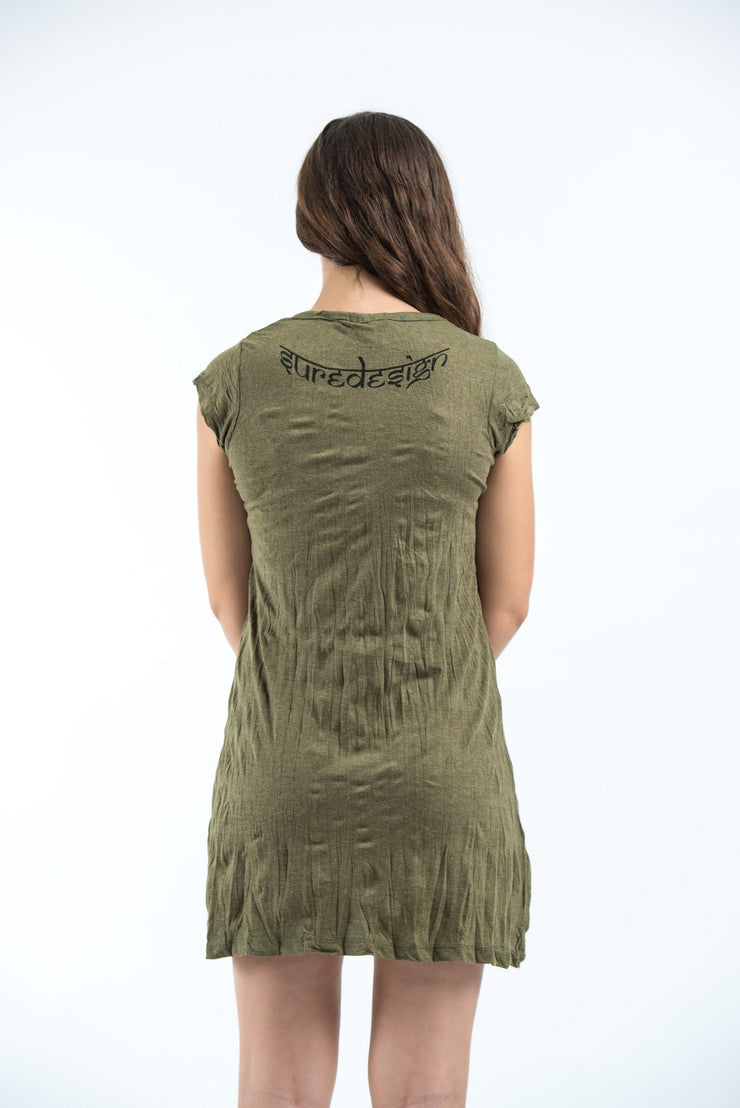 Womens Om hands Dress in Green