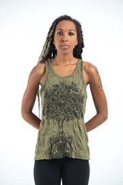 Womens Celtic Tree Tank Top in Green