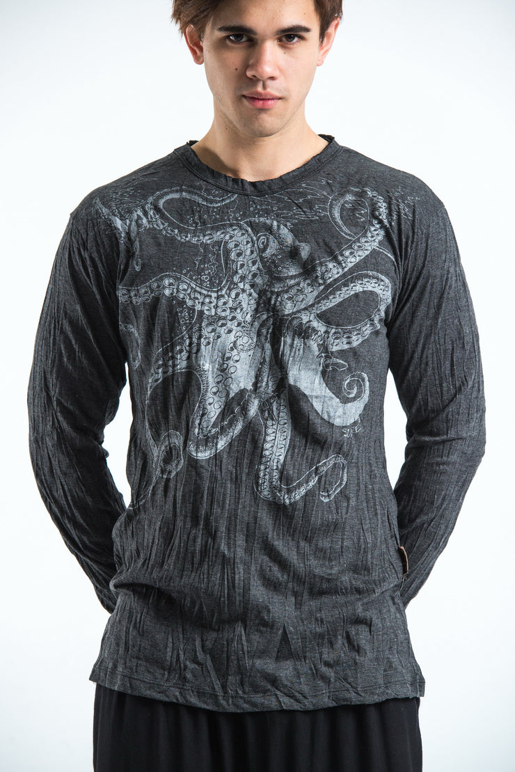 Unisex Octopus Long Sleeve T-Shirt in Silver on Black