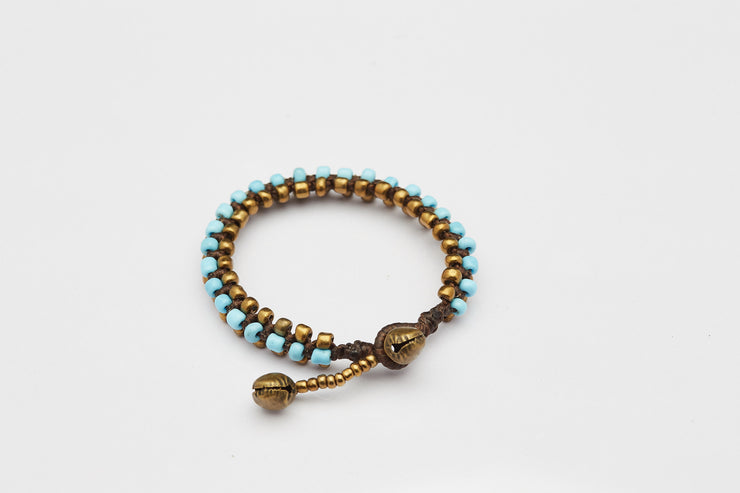 Triple Brass Beads Bracelet with Light Blue Beads