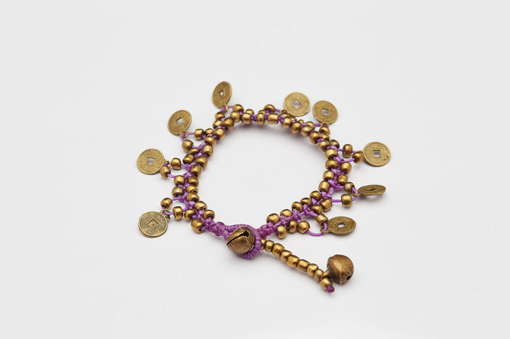 Brass Beads Bracelet with Brass Coins in Purple