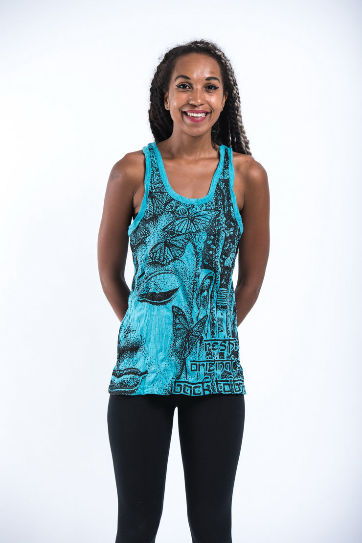 Womens Butterfly Buddha Tank Top in Turquoise