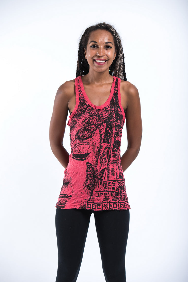 Womens Butterfly Buddha Tank Top in Red
