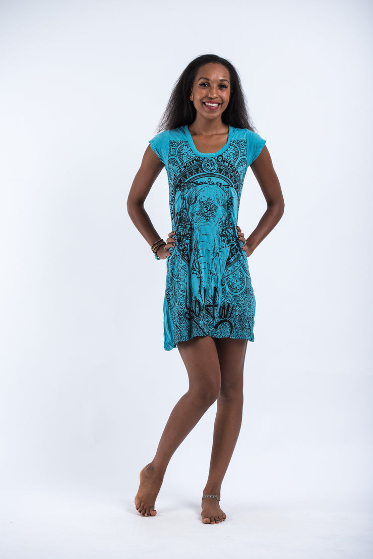 Womens Wild Elephant Dress in Turquoise