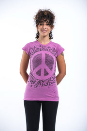 Womens Peace Sign T-Shirt in Pink