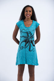 Womens Octopus Dress in  Turquoise
