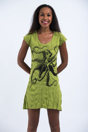 Womens Octopus Dress in Lime