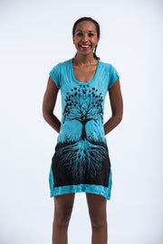 Womens Tree of Life Dress in Turquoise