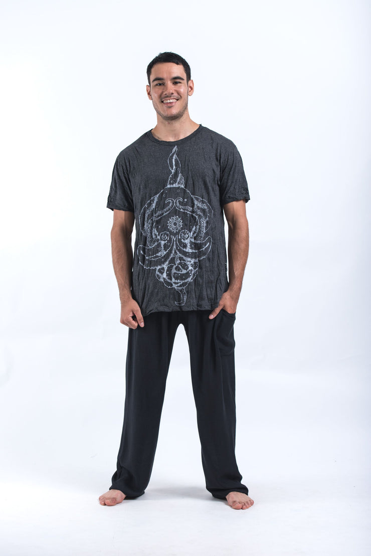 Mens Octopus Mandala T-Shirt in Silver on Black