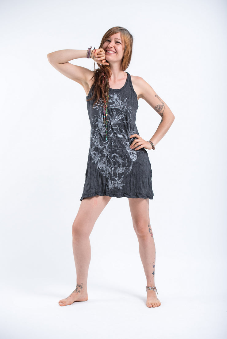 Womens Octopus Weed Tank Dress in Silver on Black