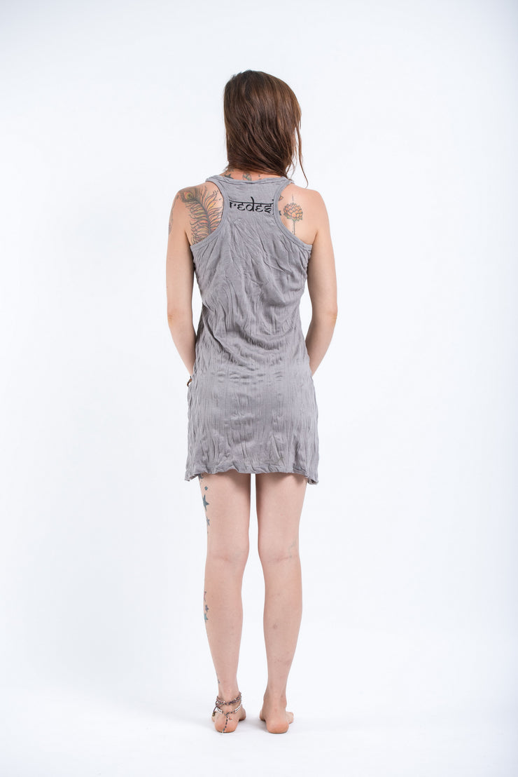Womens Octopus Mandala Tank Dress in Gray