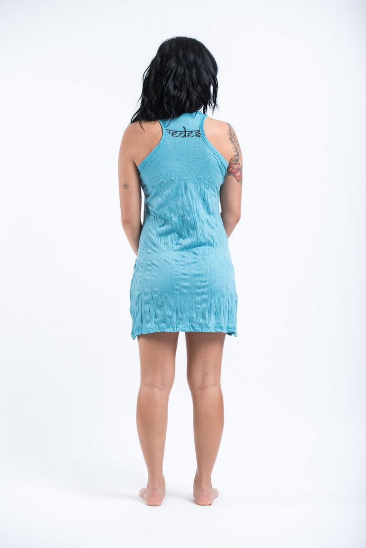 Womens Octopus Weed Tank Dress in Turquoise