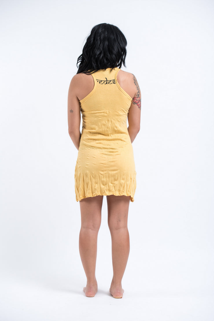 Womens Octopus Weed Tank Dress in Yellow