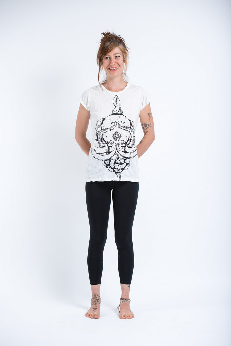 Womens Octopus Mandala T-Shirt in White