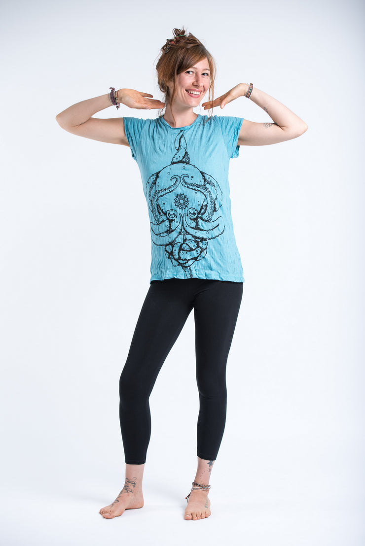 Womens Octopus Mandala T-Shirt in Turquoise