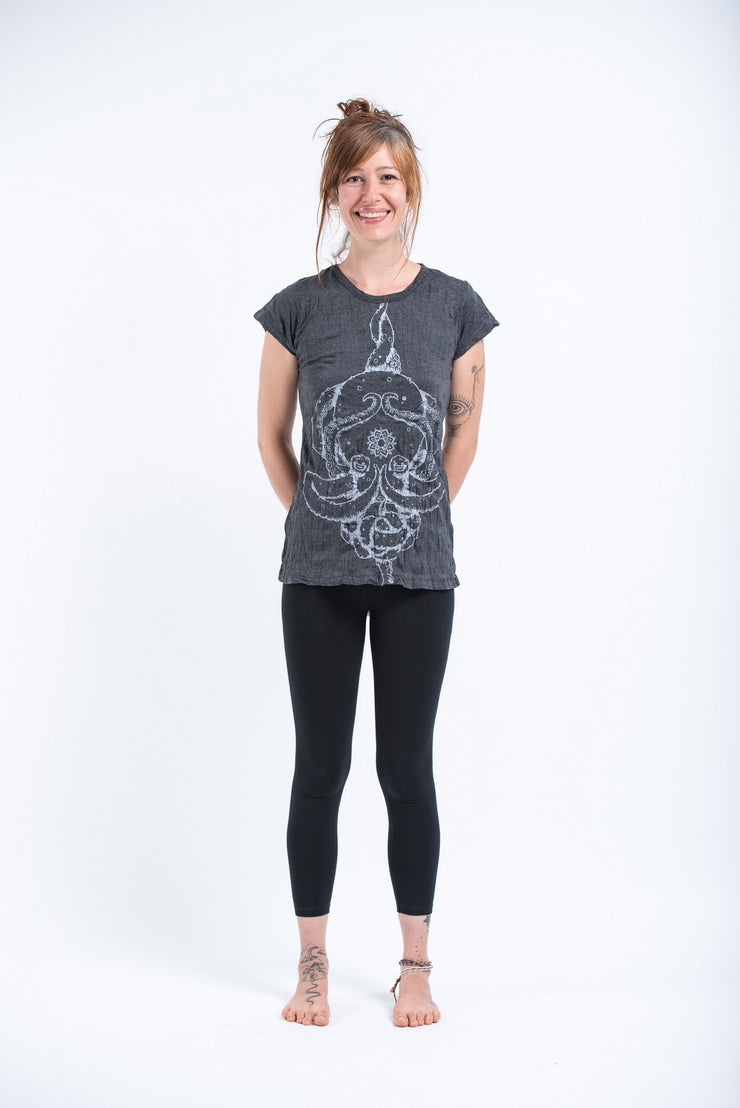 Womens Octopus Mandala T-Shirt in Silver on Black