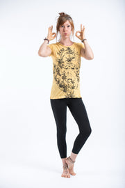 Womens Octopus Weed T-Shirt in Yellow