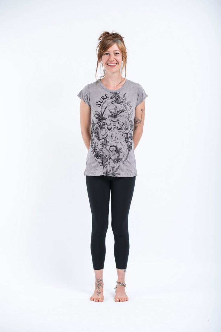Womens Octopus Weed T-Shirt in Gray