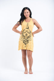 Womens Octopus Mandala Tank Dress in Yellow