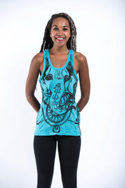 Womens Big Face Ganesh Tank Top in Turquoise