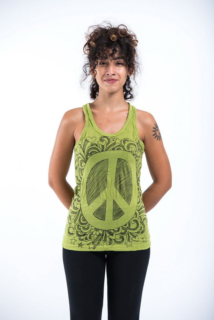 Womens Peace Sign Tank Top in Lime