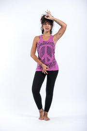 Womens Peace Sign Tank Top in Pink