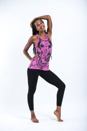 Womens Big Face Ganesh Tank Top in Pink