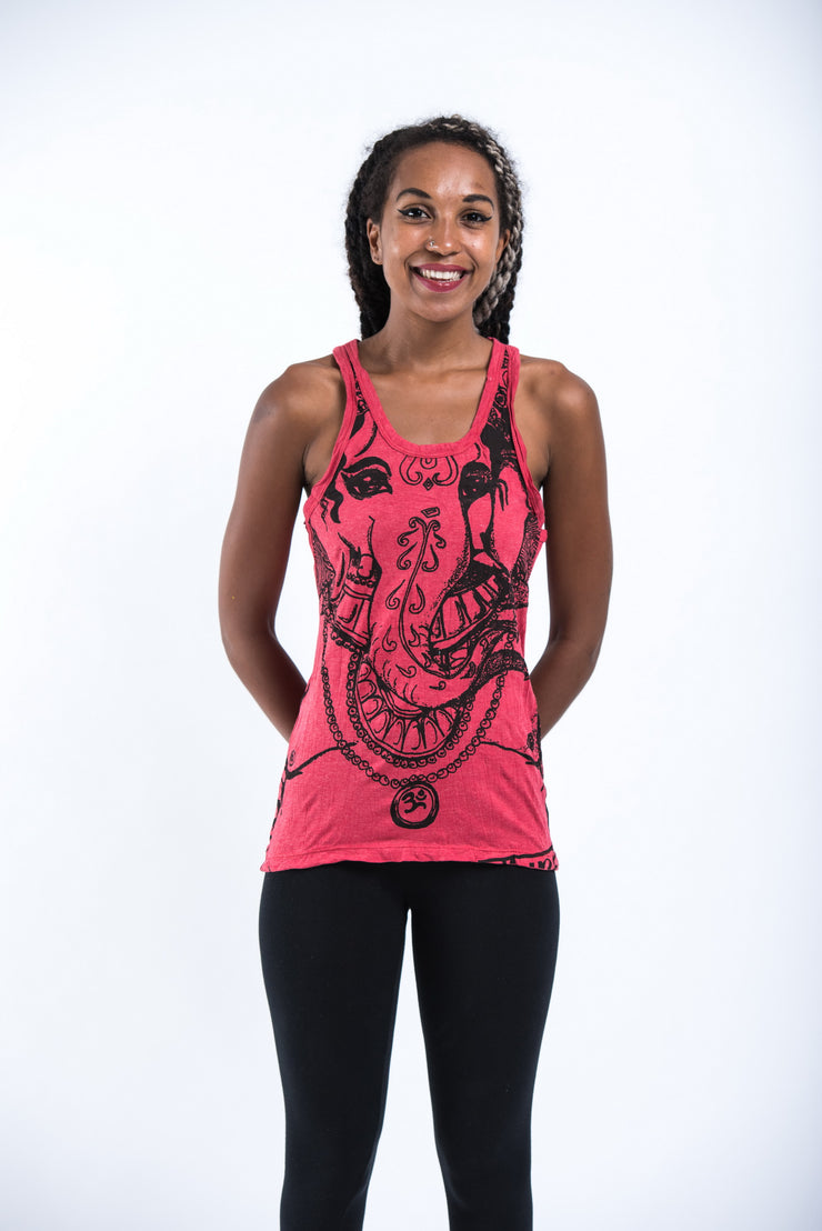 Womens Big Face Ganesh Tank Top in Red