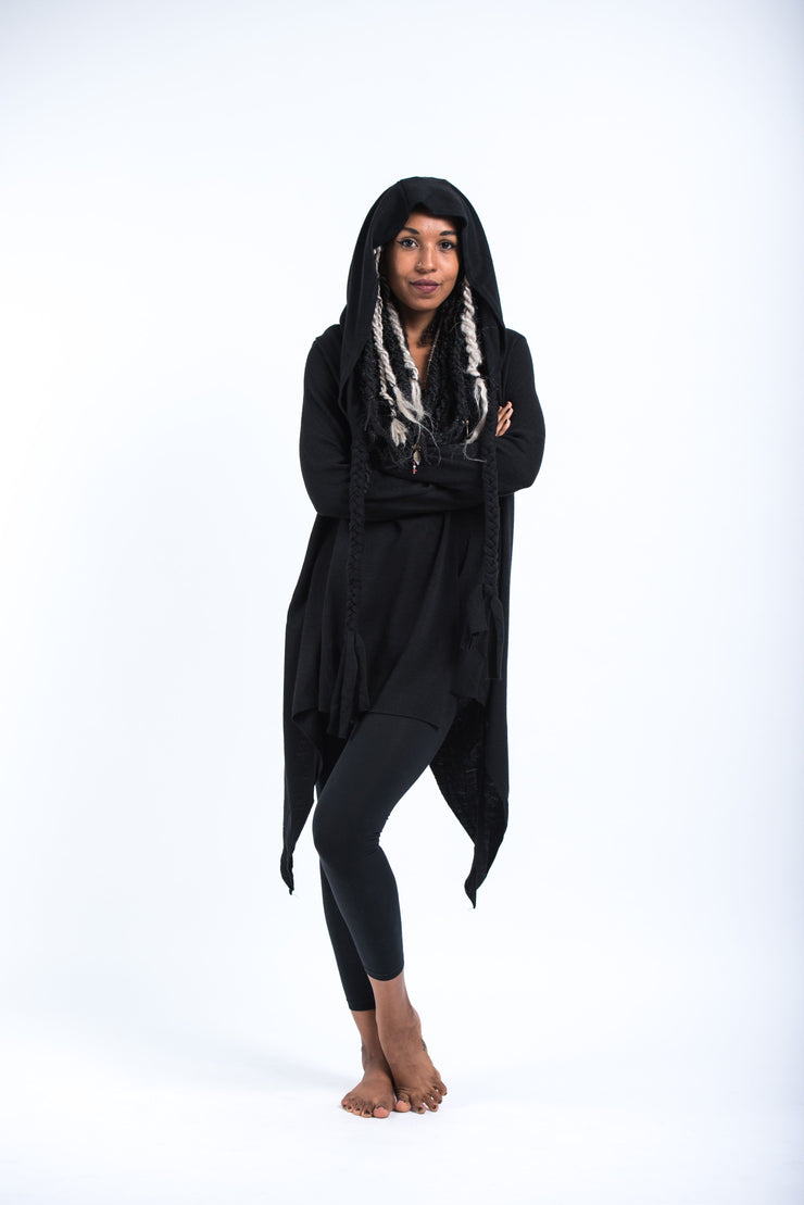 Hooded Cardigan in Black