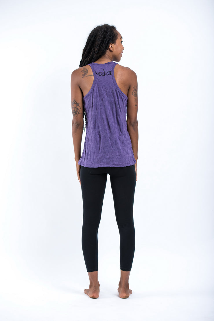 Womens Big Face Ganesh Tank Top in Purple