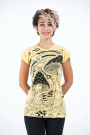 Womens Magic Mushroom T-Shirt in Yellow