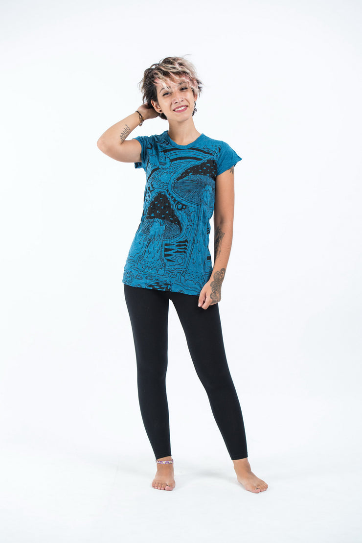 Womens Magic Mushroom T-Shirt in Denim Blue