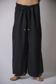 Womens Solid Color Double Layered Palazzo Pants in Black