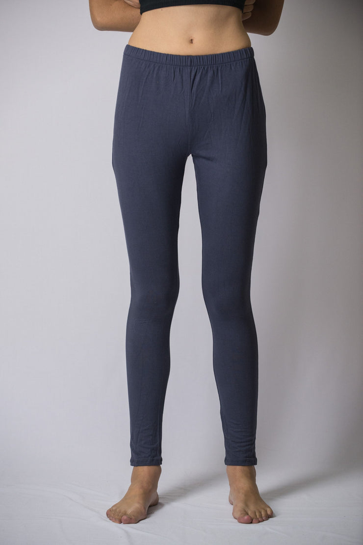 Womens Solid Color Yoga Leggings in Gray