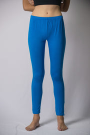 Womens Solid Color Yoga Leggings in Blue