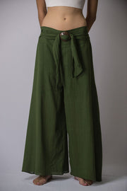 Womens Solid Color Palazzo Pants in Green