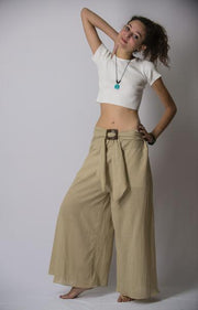 Womens Solid Color Palazzo Pants in Tan
