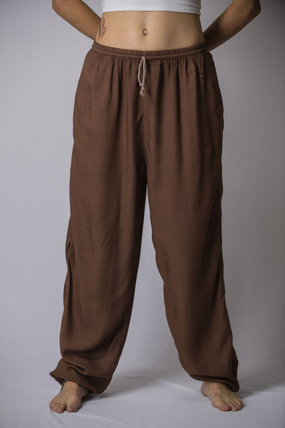 Unisex Solid Color Drawstring Pants in Brown