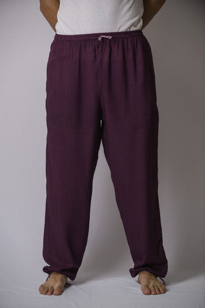 Unisex Solid Color Drawstring Pants in Dark Purple
