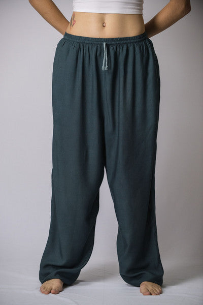 Unisex Solid Color Drawstring Pants in Dark Teal