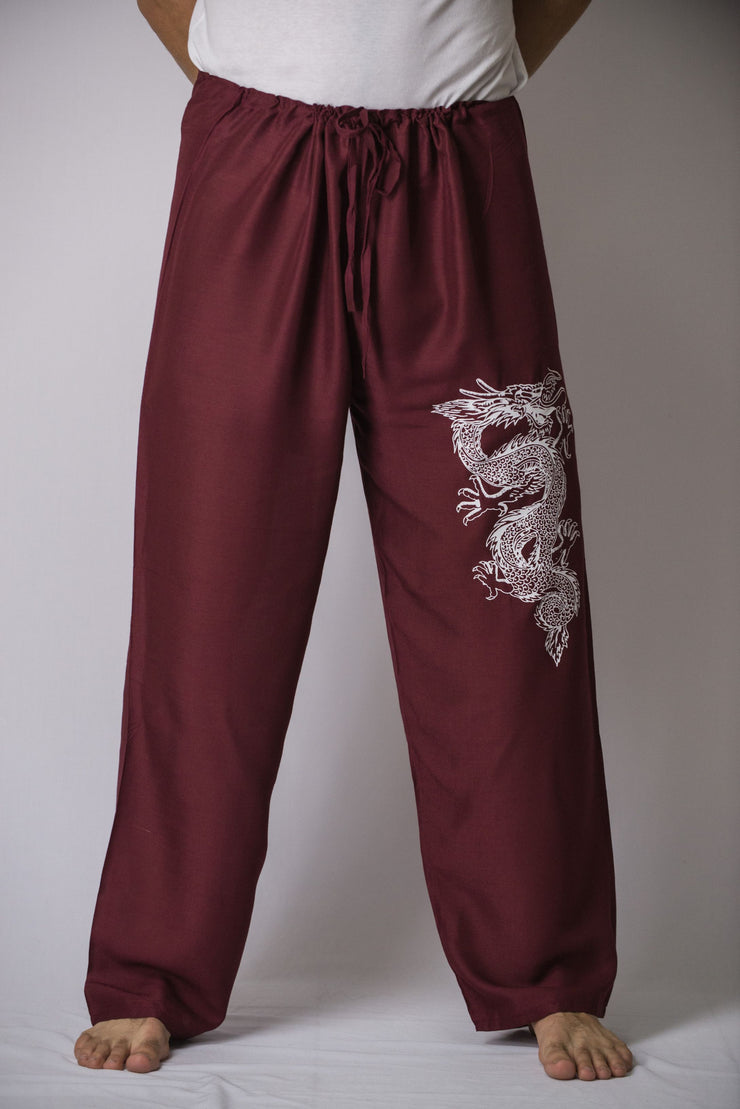 Mens Dragon Pants in Burgundy