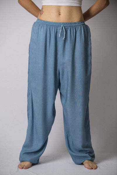 Unisex Solid Color Drawstring Pants in Blue Gray