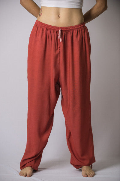 Unisex Solid Color Drawstring Pants in Red