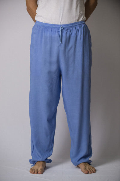 Unisex Solid Color Drawstring Pants in Blue