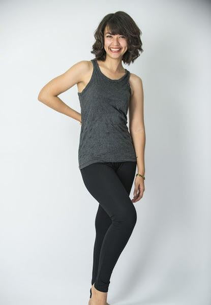 Womens Solid Color Tank Top in Black